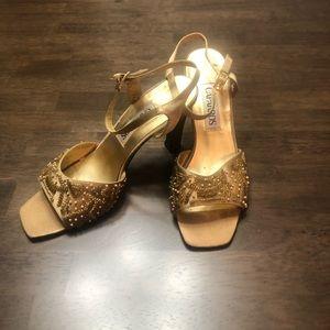 Vintage Gold Silk Beaded Formal Heels